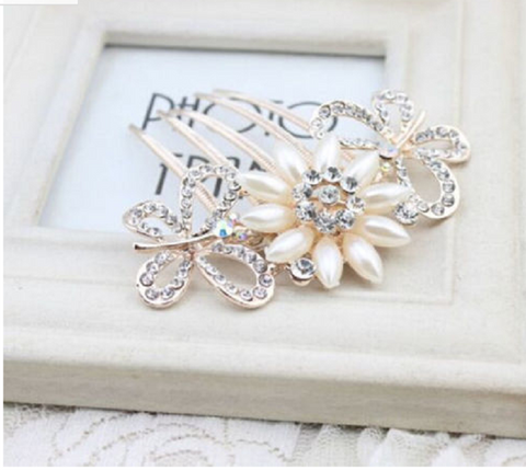 New Wedding Bridal Crystal Rhinestone Flower Pearls Hairpin Hair Clip Comb -  New Fashion Finds By Carole