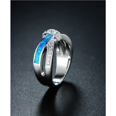 18K White Gold Plated & Lab Created Blue Opal CZ Crisscross Ring -  New Fashion Finds By Carole