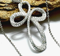 Solid .925 Sterling Silver, 1.50ctw Genuine White Sapphire Necklace -  New Fashion Finds By Carole
