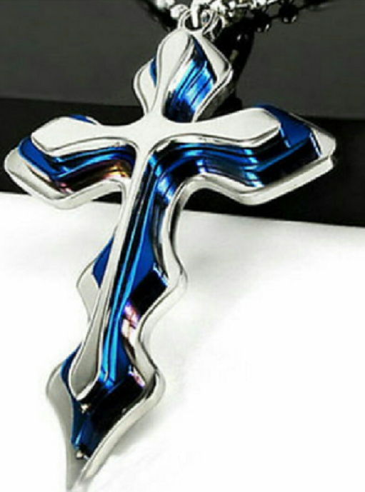 Trendy Unisex Cross Pendant Blue -  New Fashion Finds By Carole