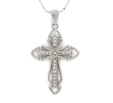 Solid .925 Silver 0.18CT Sparkling White Sapphire Cross Pendant -  New Fashion Finds By Carole