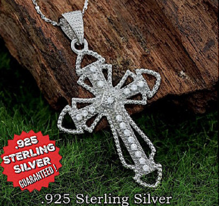STERLING SILVER PENDANT SOLID 925 CROSS NEW