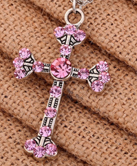 Cross Necklace with Pink Rhinestones -  New Fashion Finds By Carole