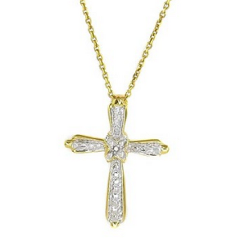 .925 Sterling silver .01Ct Diamond Accent Gold Plated Cross Necklace -  New Fashion Finds By Carole