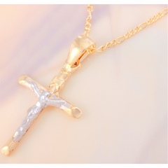 18kt Brazilian Gold Filled Two Tone Crucifix Pendant -  New Fashion Finds By Carole