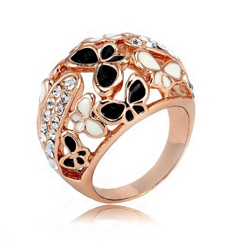Real Rose Gold Color Beautiful Enamel Butterfly Rings Micro Pave Austria Crystals -  New Fashion Finds By Carole