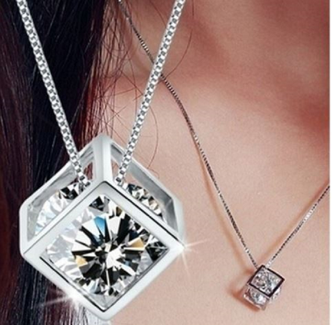 Square Style Sterling Silver Plated Shiny Zircon Crystal Pendant Necklace -  New Fashion Finds By Carole