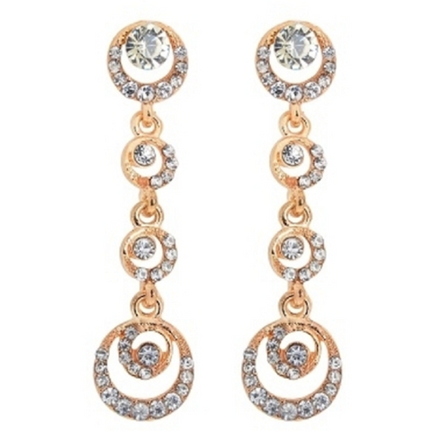 18kt White Gold PLated Austrian Crystal Drop Swirl Earrings