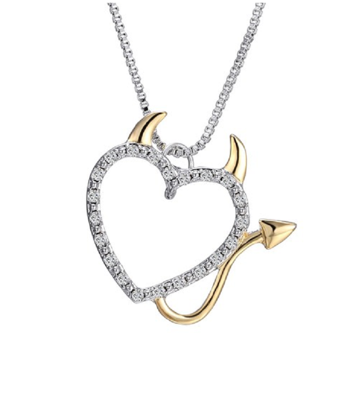 Gold and Silver Plated Crystal Devil Heart Necklace -  New Fashion Finds By Carole