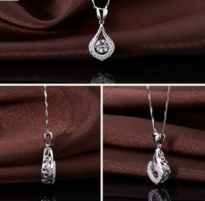 White Gold Plated Lover's Heart Necklace -  New Fashion Finds By Carole