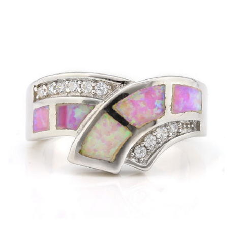 Solid .925 Sterling Silver, 3.00ctw Lab Pink Opal with Diamond accents -  New Fashion Finds By Carole