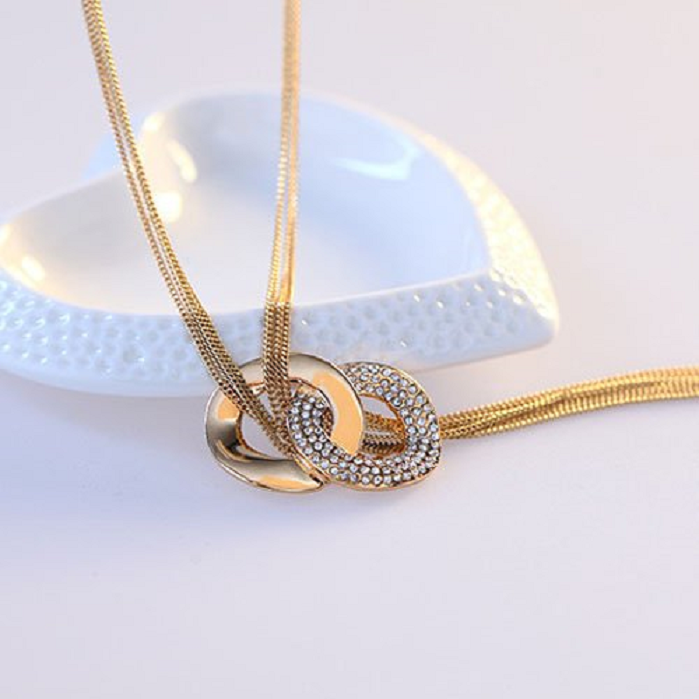 Gold Plated Crystal Double Circle Ring Pendants Extra Long Necklaces Women -  New Fashion Finds By Carole