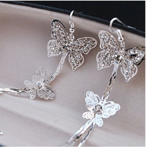 Double Layers Butterfly Rhinestone Long Tassels Hook Linear Earrings Women's -  New Fashion Finds By Carole