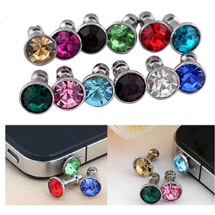 12 Pcs Mixed Color Bling Rhinestone Copper Anti Dust Plug 3.5mm for Apple iPhone -  New Fashion Finds By Carole