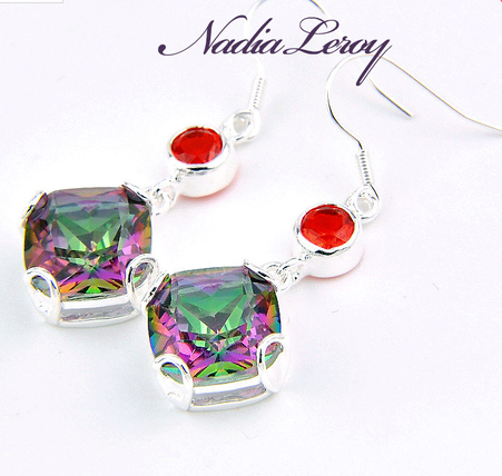 Square cut Rainbow Topaz & Garnet .925 Sterling Silver dangle earrings. -  New Fashion Finds By Carole