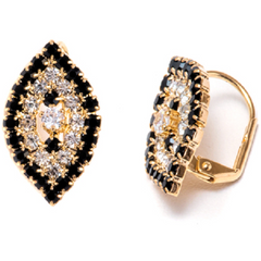 18K Gold Plated Black and White Swarovski Elements Oval Huggie Earrings -  New Fashion Finds By Carole