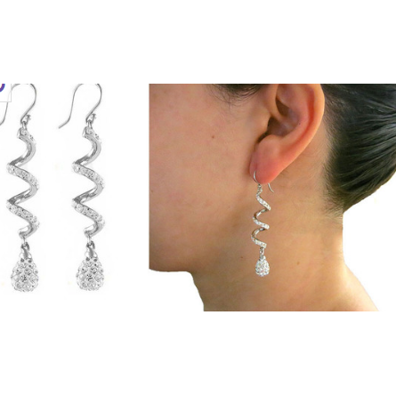 18kt White Gold PLated Austrian Crystal Drop Swirl Earrings -  New Fashion Finds By Carole