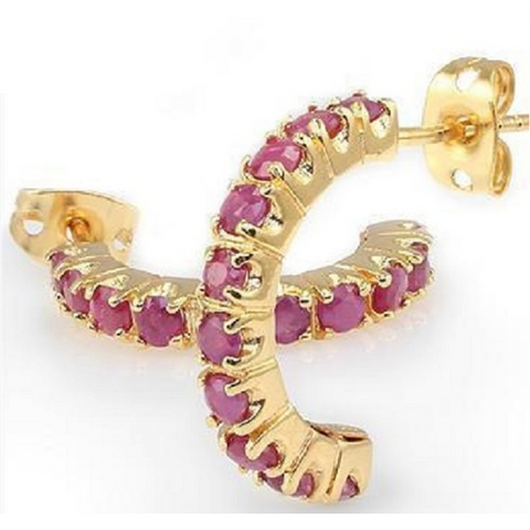 2.16 CT Ruby & Designer Earrings -  New Fashion Finds By Carole