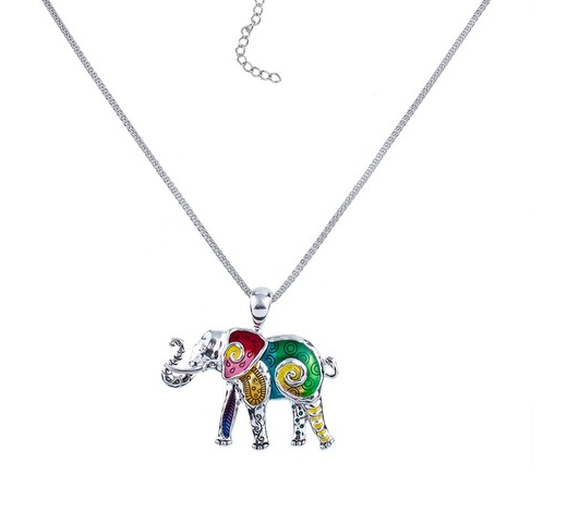 Big, Beautiful and Colorful Silver Plated Elephant Pendant with Free Necklace -  New Fashion Finds By Carole