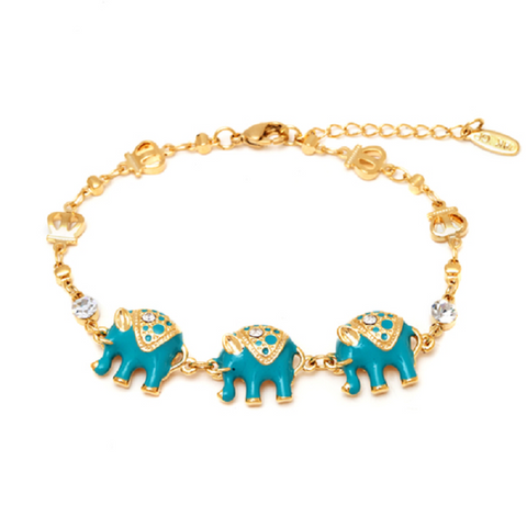 Diamond Accent Elephant Bracelet in 18K White Gold Plating Over Brass