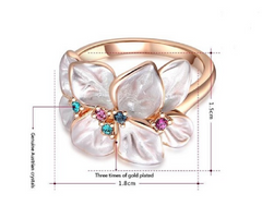 Exquisite Rose Gold Plated Austrian Crystal Flower Ring -  New Fashion Finds By Carole