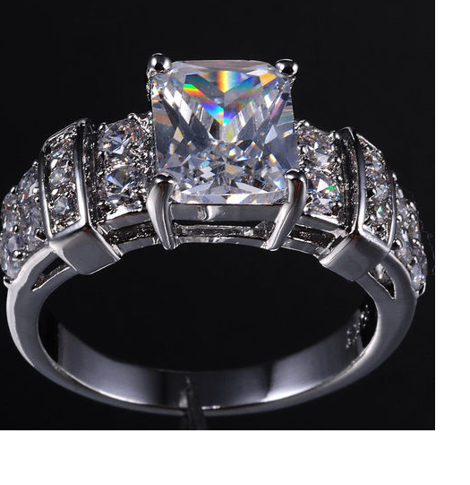 White Gold plated CZ Wedding ring, or any occasion ring. -  New Fashion Finds By Carole