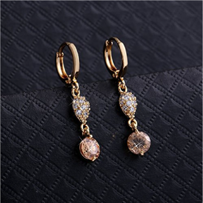 18K Gold and Silver Plated Crystal Pink Rhinestone CZ Eternity Women Girl Hook Dangle Earrings -  New Fashion Finds By Carole