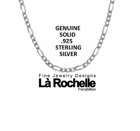 Italian Crafted Sterling Silver Thick Figaro Chain -  New Fashion Finds By Carole