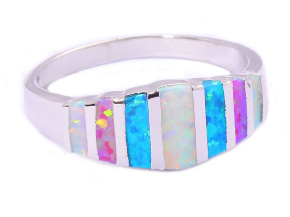 Created Pink Blue White Fire Opal Silver Plated Beautiful Ring -  New Fashion Finds By Carole