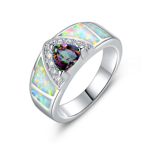 .925 Sterling Silver Pink Opal (lab) Cushion Cabochon Ring
