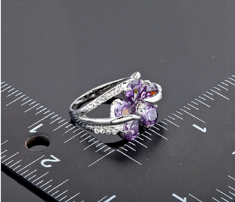 Platinum Plated Swarovski Element Crystal Purple Flower Design Cubic Zirconia Ring -  New Fashion Finds By Carole