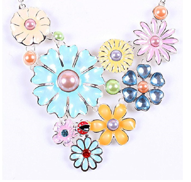 Colorful Flower Cluster Festoon Y-Necklace Bib Statement Necklace Earring Set -  New Fashion Finds By Carole