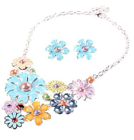 Charming White Gold Plated Purple Flower Crystal Necklace