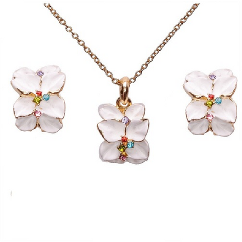 18K Rose Gold Austrian Crystal White Flower Jewelry Set -  New Fashion Finds By Carole