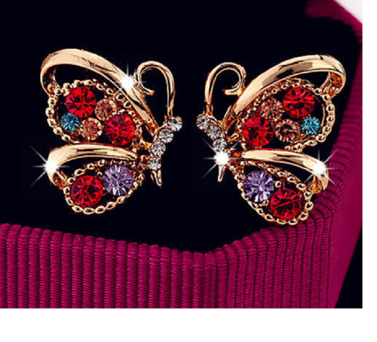 Multicolored Rhinestone Butterfly Earrings -  New Fashion Finds By Carole