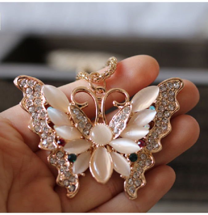 Rose Gold Opal Butterfly Pendant Necklace Sweater Chain -  New Fashion Finds By Carole
