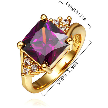 18K White Gold Plated Ring with Genuine Ruby