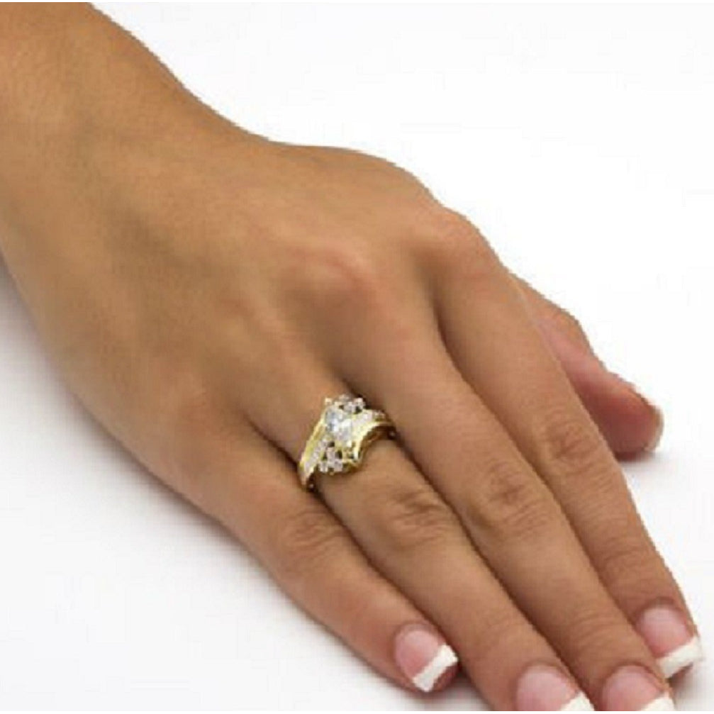 18kt Gold Diamond Accent Stunning Ring -  New Fashion Finds By Carole
