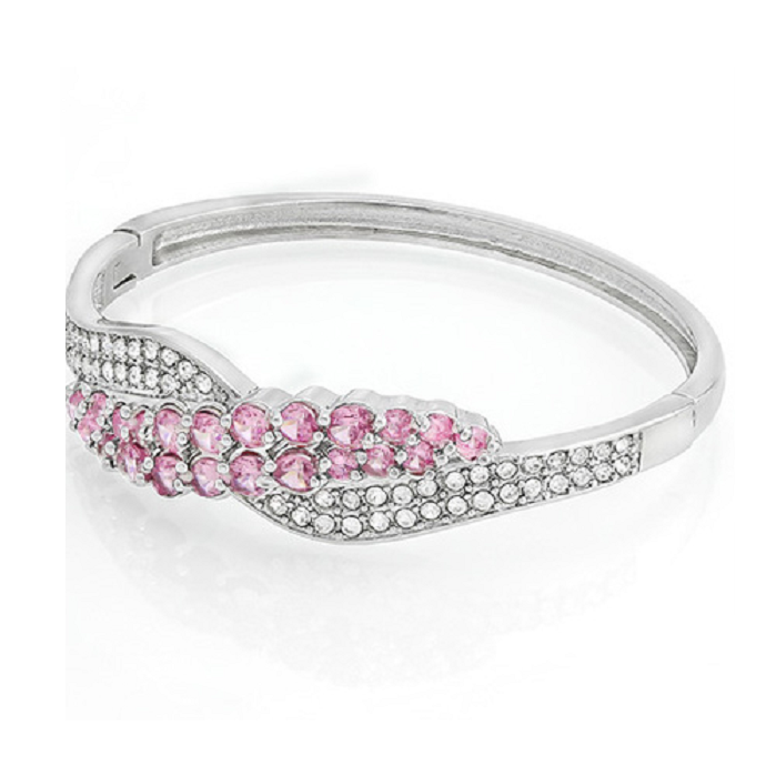 4.65ct Pink and White Sapphire Bangle Bracelet Glamorous -  New Fashion Finds By Carole