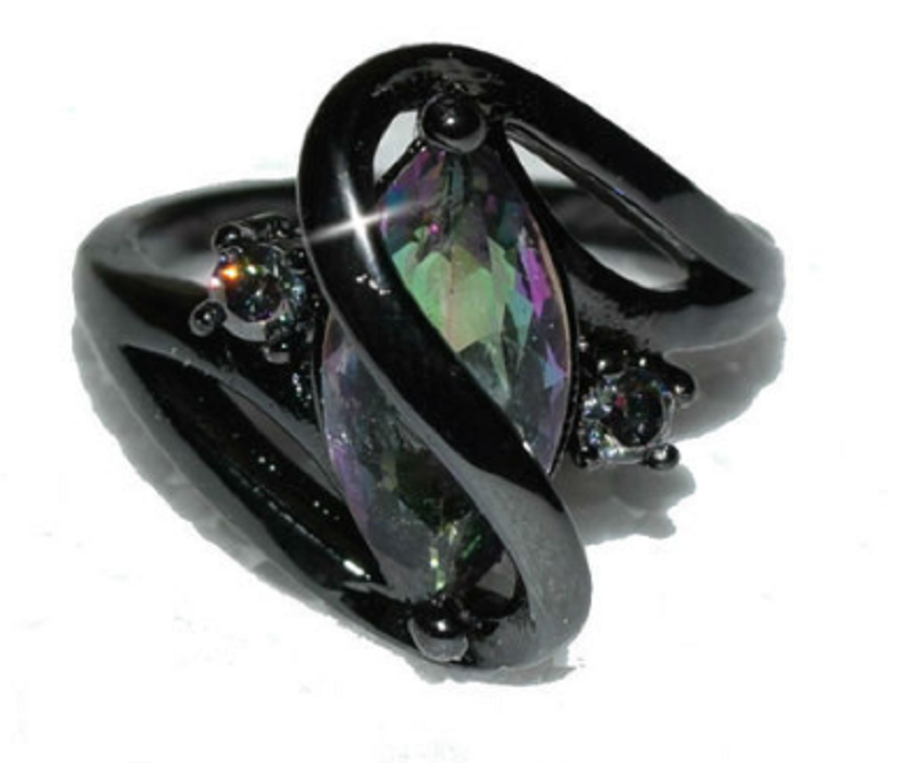 Swirl Marquise Cut Mystic Rainbow CZ Black Gun Ring -  New Fashion Finds By Carole