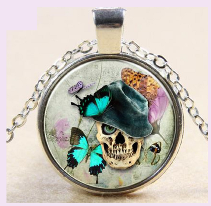 Halloween Gemstone Pendant Necklace Sliver Art Jewelry Necklace -  New Fashion Finds By Carole