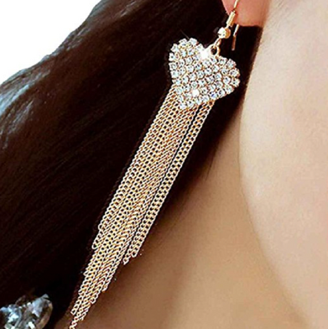 Vogue Lady Women's Party Tassels Heart Crystal Dangle Drop Long Earrings (Gold)