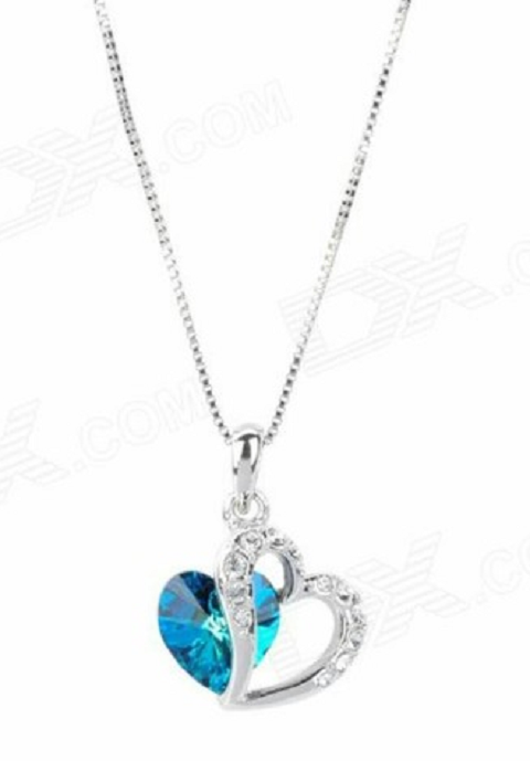 Silver plated double heart necklace. Sea blue -  New Fashion Finds By Carole