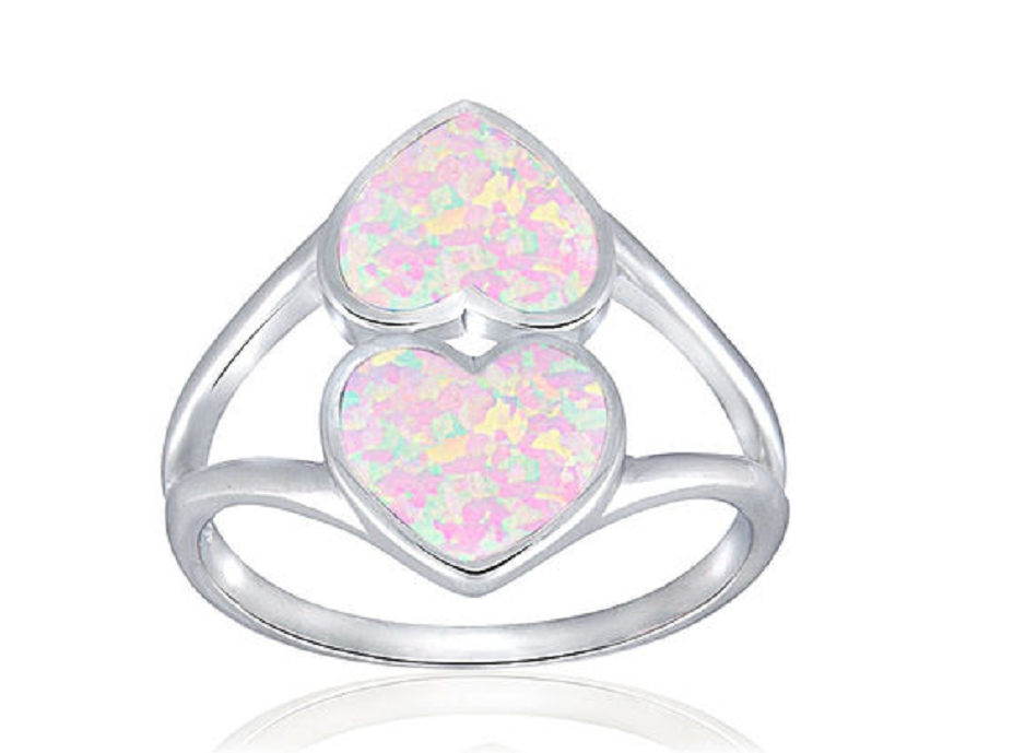 Sterling Silver Created White Opal Heart Ring -  New Fashion Finds By Carole