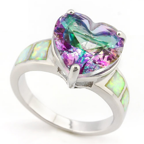 18K White Gold Plated Oval cut Mystic Topaz 3.2ct ring