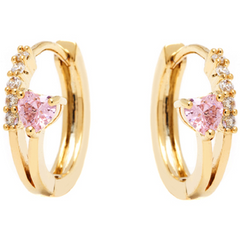 18K Gold Plated Gold and Rose Swarovski Elements Heart Huggie Earrings -  New Fashion Finds By Carole
