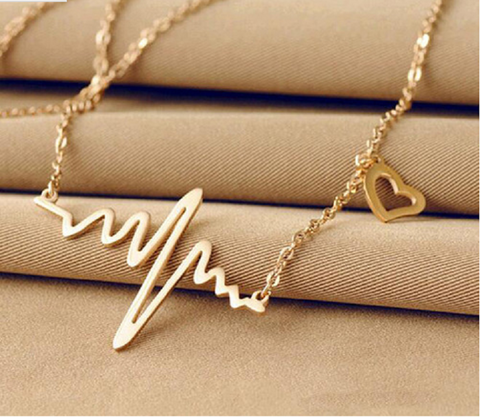 Chic Heartbeat Gold Plated Pendant Necklace -  New Fashion Finds By Carole