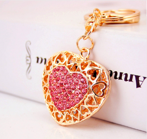 Crystal Gold Plated Cute Key Ring keychain figurine / purse charm!!!