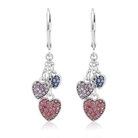 Crystal Drop Hearts Earrings  18kt White Gold Plated -  New Fashion Finds By Carole