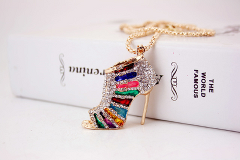 3D Full stone Colorful High Heel key ring key ornament, handbag charm